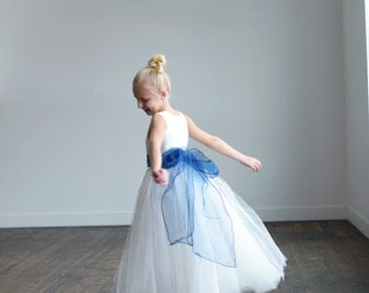 The Royal Blue organza flower girl dress, first communion dress, junior bridesmaid dress, with royal blue organza sash