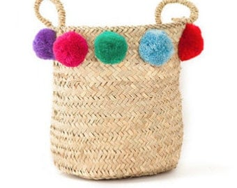 """Cestino 12"""" - Straw Basket with pompoms and handles"""