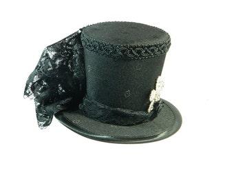 Tophat black Minihat Fascinator Gothic Hat Burlesque Cocktail Derby Bibi Chapeau black Victorian Steampunk Bridal Hat Church Wedding