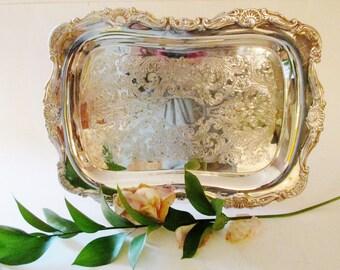 Vintage Silver Tray, Bar Ware, Sheridan Silverplated Vanity Tray, Relish Tray