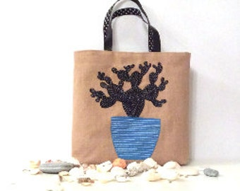 Blue cactus, hand embroidered on jute tote bag, handmade, summer tote bag, shoppers tote bag, one of a kind