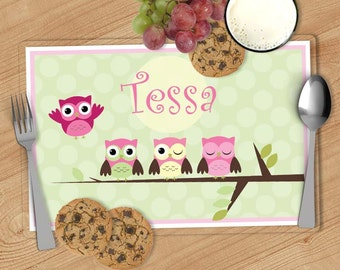 Owl -  Kids Personalized Placemat, Customized Placemats for kids, Kids Placemat, Personalized Kids Gift