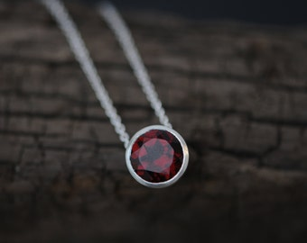 Red Garnet Pendant Necklace - Garnet Silver Necklace -Red Gemstone Necklace - Red Pendant Necklace - Red Gem Pendant - FREE SHIPPING