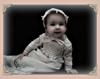 Christening gown girl baby Heirloom embroidery   monogramand Bonnet  set