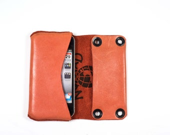 iPhone 4/4s Leather Pouch Case / coral / peach / Japanese tree / ready to ship