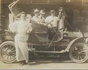 Grapes of Wrath antique auto car RPPC Real Photo Postcard photography social realism original old photograph ephemera