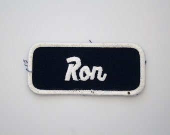 Vintage Embroidered Name Patch - RON - Sew On Patch - Factory Shirt Name Patch - Bowling Shirt Patch