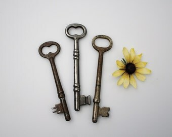 Antique Skeleton Keys - Keys to the Farmhouse - Rustic Farmhouse Decor - Old Door Key Bit and Tumbler