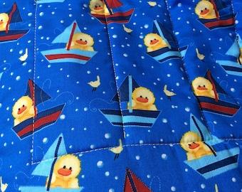 Yellow Duck Sailing Baby Boy Quilt, Newborn Quilt, Toddler Blanket, Sailboat BabyQuilt, Nusery Decor, Baby Shower Gift, Bathtime Baby Quilt