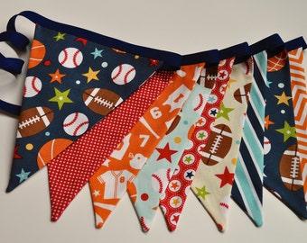 Boys Sports theme fabric pennant banner bunting, blue orange red football baseball basketball, birthday party decor, cake smash photo prop