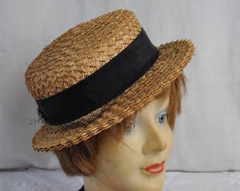 Adorable Straw Mini Hat/Vintage 1930s 1940s/Narrow Brim Summer Hat/Grosgrain Ribbon, Net