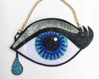 Blue Glitter Eye Clutch Handbag