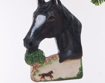 Personalized Horse Christmas ornament - black horse ornament personalized with name of your choice (280)