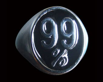 Stainless Steel 99% Occupy Wall Street Protest Biker Ring (OWS) - Size 10 - Instock/Shipping
