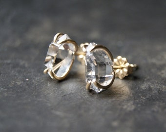 Large Clear Herkimer Diamond Prong Studs in 14kt Yellow Gold