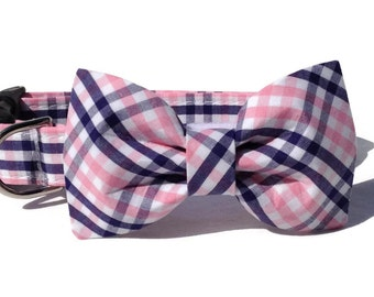 Navy + Pink Plaid  Dog Bow Tie and Collar Set  for Small to Large Dogs