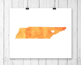 Tennessee or ANY STATE Map - Custom Personalized Heart Print - I Love Nashville - Hometown Wall Art Gift Souvenir - Watercolor Series