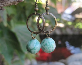 Jade Bead Earrings on Antique Gold Metal Hoops - Rustic Boho Hoop and Jade Earrings