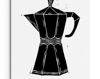 Coffee / Espresso Maker - Kitchen Decor - Illustration - Wall Art - Linocut Block Print - Original or Digital Print