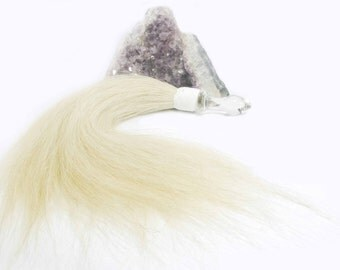 Glass Butt plug- Extra Small--  Horse hair flogger in white with cone plug