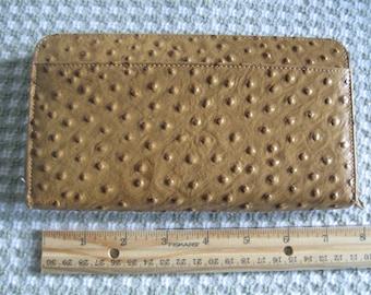 Vintage New Unused Wallet, Faux Ostrich, 12 Card Slots, Zip Close