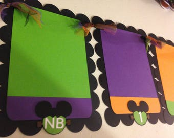 Halloween Mickey Mouse Inspired First Year Photo Banner