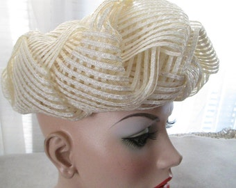 Vintage Weaved Cream STRAW HAT by Christian Dior