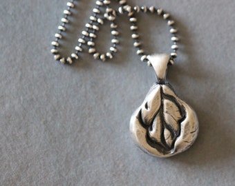 Botanical Charm Necklace, Floral, Sterling Silver, Rustic, Boho, Pendant, 16 Inch, Bead Chain, Dezine Studio