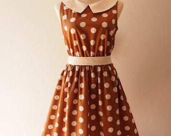Special Occasion Womens Dresses Brown Polka Dot Vintage Retro Collar Summer Dress -XS-XL, Custom