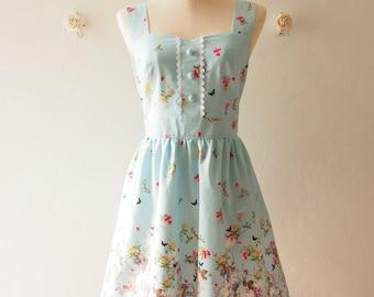 Blue Sundress Vintage Inspired Summer Dress Blue Tea Party Dress Sweet Dress Floral Dress ,custom