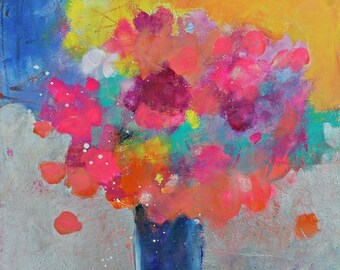"""Abstract Floral Painting, Modern Colorful Flowers in a Vase, """"Morning Bouquet"""" 12x12"""""""