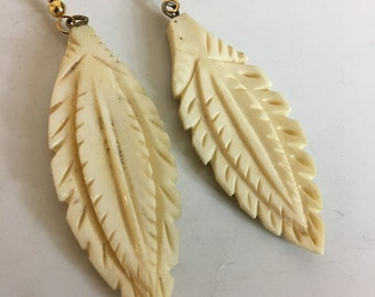 Vintage Feather Carved Bone Earrings Gold Fill Ear Wires #2
