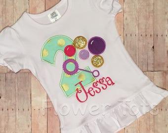 Bubbles Birthday Shirt- applique, custom, monogram, bubbles shirt, mint, gold, purple