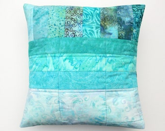 Batik Quilted Patchwork Pillow Cushion Cover, Tropical Waters, Handmade by PingWynny