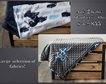 ON SALE! Any 2 Personalized Baby Blankets, Minky Plush Navy Blue and Grey, Baby Boy or Girl Monogrammed Gift