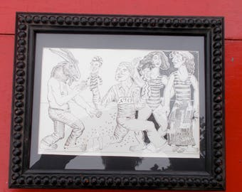 Quirky Boho line Print with an Amazing Vintage Frame