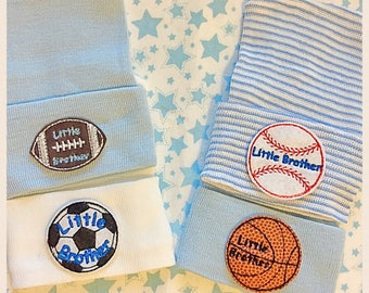 Newborn Hospital Hat for Boys (Little Brother Sports) (infant beanie, boy beanie, newborn boy hat, baseball, football, basketball, soccer)