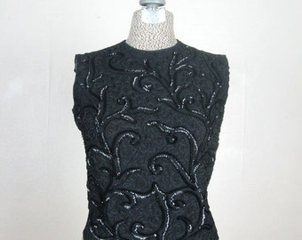 ON SALE // Vintage 1960s Black Sequin Shell Top 60s Rayon Blouse with Swirled Sequin Pattern by Mr Winn Size 6 Medium
