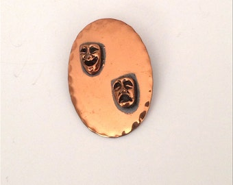 Copper Tragedy Comedy Pin 1960s