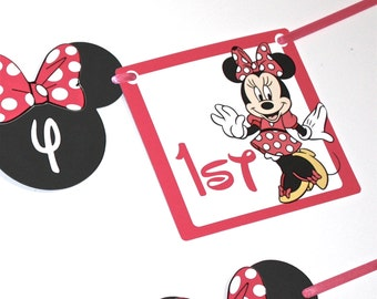 Pink Or Red Minnie Mouse SHIPS FAST  First Birthday Party Banner, Happy Birthday Party, Minnie Mouse Party Decorations, 1st 2nd 3rd Banner
