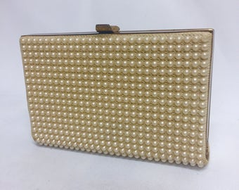 Vintage Pearl JR USA Bead Small Hard Sided Bridal Clutch 60s