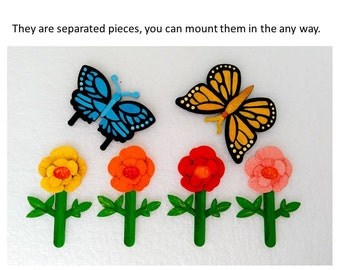 Magnets - Wall Art - Hand Oil Painted And 3D Print - Includes small pieces of Mount Tape As Alternative - Flowers And Butterflies