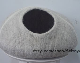 Natural Cinder block cat cave, cat house, cat furniture, felt cat house, felt cat bed.