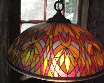 Cool 1960s Glass Overhead Hanging Light. Hardwired