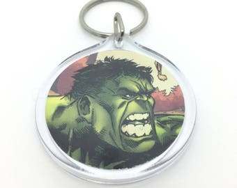 Upcycled Comic Book Keychain Featuring - Hulk