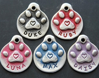 Dog Tag Personalized Pet Tag Dog ID Tag Dog Name Tag Handmade Paw Print with Heart Gifts for Pets