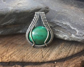 Wire Wrapped Pendant - Turquoise Pendant - Wire Wrap Turquoise - Green Turquoise Jewelry - Wire Wrap Jewelry - Turquoise Wire Wrap