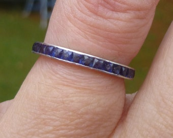 Art Deco Platinum eternity band  Sapphire Channel Setting Eternity Diamond Wedding Ring SIZE 5  Wedding band