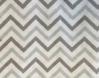 Chevron Grey and White Flannel Print 1.5yds