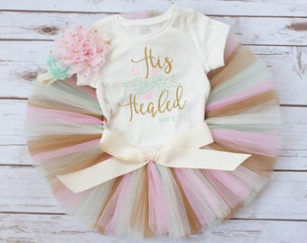 """Easter outfit girl """"Nieva"""" baby girl Easter outfit, pink mint and gold Easter tutu set, baby girl Easter outfit, first Easter, Easter tutu"""